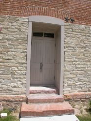 An original exit door on the west side of the Moroni Opera House. - , Utah