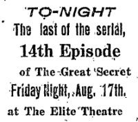Newspaper advertisement for the Elite Theatre in 1917. - , Utah