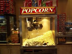 A popcorn popper at the Redstone 8 Cinemas concession stand. - , Utah
