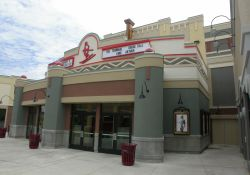 The front of the Redstone 8 Cinemas from the side, showing a walkway back to one of the theater exits. - , Utah