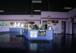 The lobby of the 5 Star Cinemas.  The concession stand is in the center.  Out of the photo on the left are the main entrance doors.