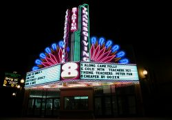 The Thanksgiving Point Stadium 8 theater has an impressive display of neon on its marquee. - , Utah