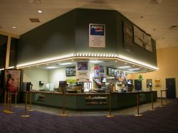 The concession stand in the theater lobby.