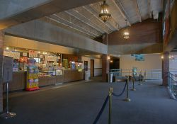 The lobby and concession stand of Trolley Corners Theater 1.