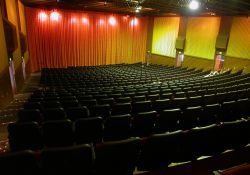 Trolley Corners Theater 1, from the back left corner looking down at the screen curtains. - , Utah
