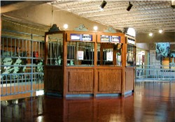 The Trolley Corners ticket booth.  The area behind the booth is open to the concession stand for theaters 2 & 3 on the level below.