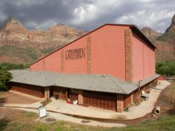 Zion Canyon Giant Screen Theatre is located in Springdale, near the entrance of Zion National Park. - , Utah