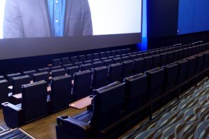 The lower seating section has five rows of seating between the screen and the cross aisle. - , Utah