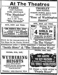 Last advertisement for the Thorley Theatre before being renamed the Avalon Theatre. - , Utah