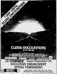 'Opens Tomorrow' ad for 'Close Encounters of the Third Kind' at the Regency Theare.  - , Utah