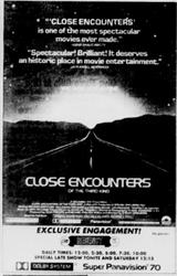 'Close Encounters' of the Third Kind in Super Panavision 70 and Dolby System at the Regency Theatre. - , Utah