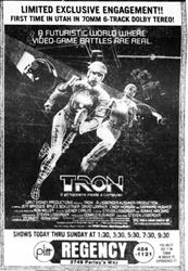 Tron in a limited exclusive engagement at the Regency Theatre.  'First time in Utah in 70mm 6-Track Dolby Stereo!' - , Utah