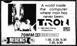 'Tron' at the Regency.  'A world inside the computer where man has never been.'  - , Utah