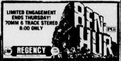 'Ben Hur' in 70mm 6 Track Stereo at the Regency. - , Utah