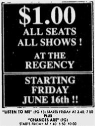 """""""$1.00, All Seats, All Shows! At the Regency. Starting Friday, June 16!!"""" - , Utah"""