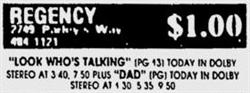 Last advertisement for the Regency Theatre, on Sunday, 25 March 1990. Cineplex Odeon did not run an ad in the Deseret News on Monday and the Regency was missing from Tuesday's ad. - , Utah
