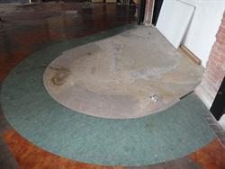A pattern in the floor marks the location of the theater's concierge desk. - , Utah