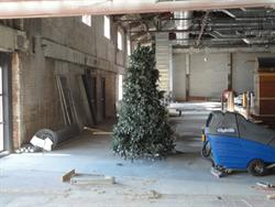 A Christmas tree stands in the area formerly occupied by three of the four auditoriums. - , Utah
