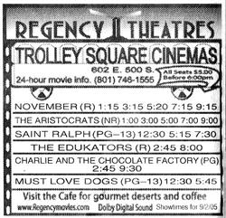 Advertisement for the Trolley Square Cinemas as part of the Regency Theatres chain. - , Utah