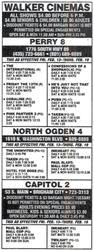 Newspaper advertisement for the Capitol Theatre in Brigham City, along with the Walker Cinemas in Perry and North Ogden. - , Utah