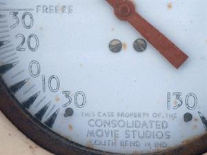 At the bottom of the thermometer is a notice reading, 'This case property of the Consolidated Movie Studios, South Bend 19, Ind.' - , Utah