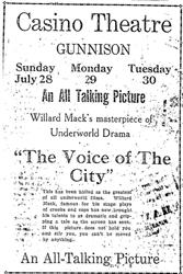"Advertisement for ""The Voice of the City"" at the Casino Theatre in 1929. - , Utah"