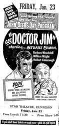Advertisement for the John Deere Day Program at the Star Theatre, featuring a free lunch and a free show, Stuart Erwin in 'Doctor Jim.' - , Utah