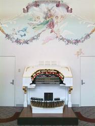 The restored organ console on display in the Dansante lobby. - , Utah
