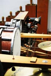 A drum and symbols are among the instruments in the pipe organ. - , Utah