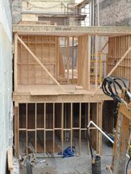 Basement and ground level framing on the east side of the Utah Theatre. - , Utah