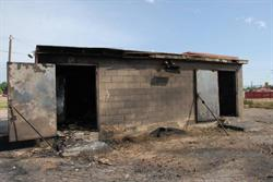 Doors to the concessions building are propped open followng the fire. - , Utah