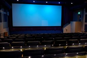 Cinema 2 has nine rows of sloped seating. The screen is off-center to accomodate exit stairs on the right. - , Utah