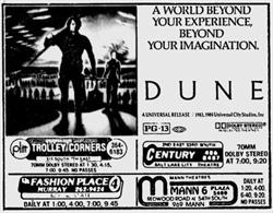 'Dune' in 70mm Dolby Stereo at Trolley Corners and Century. - , Utah