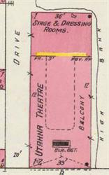 The Utahna Theatre on a 1906 Sanborn fire insurance map. - , Utah