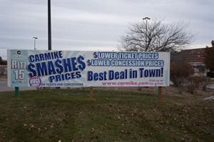 A 'Carmike Sma$she$ Prices' banner remains on display two weeks after the theater complex closed. - , Utah
