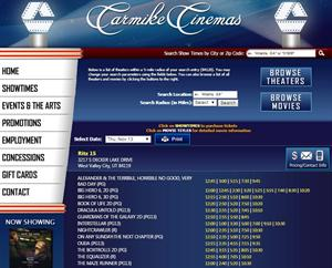 Showtimes for the last day of the Ritz 16, on the Carmike Cinemas website. - , Utah