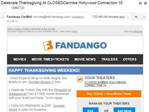 Fandano sends an e-mail with the subject 'Celebrate Thanksgiving at CLOSEDCarmike Hollywood Connection 15.' - , Utah