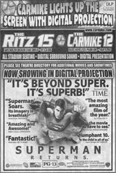 Newspaper ad for Superman Returns with text 'Carmike lights up the screen with digital projection' - , Utah
