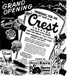 Grand Opening ad for the Crest Theatre - , Utah