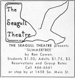 Advertisement for 'Summertree' at the Seagull Theatre. - , Utah