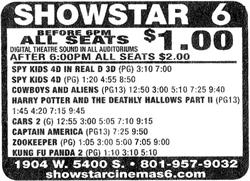 Advertisement for the Showstar Cinemas 6, after reducing prices to $1 before 6 PM. - , Utah