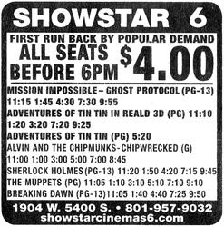 """First Run Back by Popular Demand.  All Seats Before 6 PM $4.00."" - , Utah"