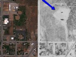 A side by side comparison of historical and modern aerial photos shows that two baseball fields have taken the place of the Mesa Drive In. - , Utah