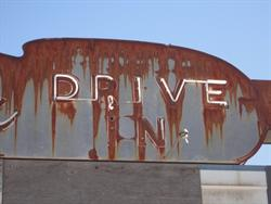 "Block letters for ""Drive In"" on the north side of the sign. - , Utah"