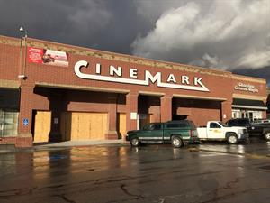 The new facade of the Cinemark Sugar House, with a construction wall covering the entrance. - , Utah