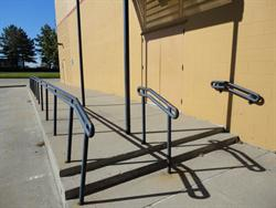 Railing by the exit doors on the east side. - , Utah