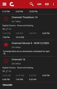"""Cinemark Movies 8 appears in the Cinemark app with """"- NOW CLOSED"""" appended to the theater name. - , Utah"""