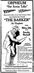 Advertisement for 'The Barker' at the Orpheum in Vitaphone.  'Our Screen Talks' - , Utah