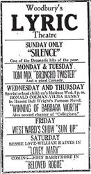 An advertisement for Woodbury's Lyric Theatre, two weeks after opening. - , Utah