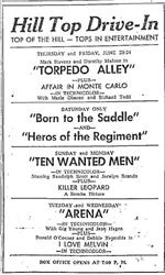 Newspaper advertisement for the Hill Top Drive-In in 1955. - , Utah